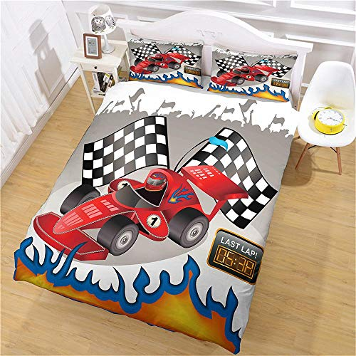 aakkjjzz Duvet Cover Set Ultra Soft 3 Pcs Bedding Set With Zipper Closure 100% Polyester Cartoon F1 Car Quilt Duvet Cover 220X260cm and 2 Pieces Pillowcases 50X75cm for Bedroom