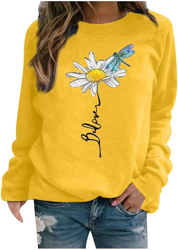 Sweatshirts for Women,Sunflower Pullover Sweatshirts Crewneck Tops Vintage Plus Size Long Sleeve Tops Shirts