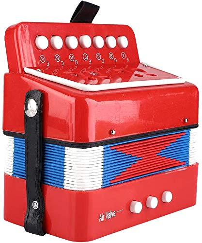 Mini piccola fisarmonica per bambini, fisarmonica per bambini, giocattolo per bambini a 7 tasti a 2 bassi per mani giovani(red)