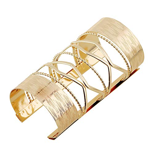 Fashion Alloy Women's Bangle Hollow Cross Hairpin Wide Bangle Bracelet (Golden)