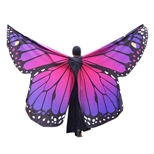 FeiliandaJJ Schmetterling Kostüm, Damen Schmetterlings Flügel Schal Faschings Kostüme Tanzendes Umschlagtücher (Hot Rosa, 168 x 135 cm)