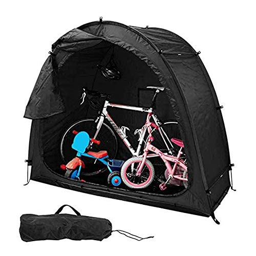ZXYMUU Portable Bike Tent, Waterproof Thicken Fabric Bike Cover, Weather Resistant Protection Outdoor with Window Design for 1 Bikes - Heavy Duty Ripstop Material, 200CMX88CMX165CM,Black
