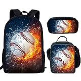 UNICEU Fire and Water Baseball Ball Print Backpack Children...