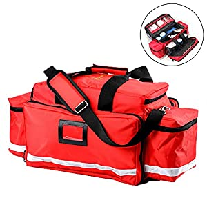WYFC First Aid Kit - Complete Emergency Response Trauma Bag - Medical First Responder EMT/EMS Bag Stocked Trauma Kit red by WYFC
