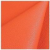 6色 合成皮革 0.9mm厚 柔らかい 防水 ライチPU 人工皮革生地 作る DIY工芸品 レザーピアス ヘッドドレス ソファー修理 インテリアファブリック Size オレンジ