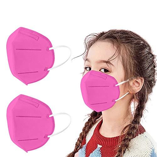 Paradenti per bambini da 50 pezzi -Mẵscherịne- Certịficàte ⒸⒺ, filtro a 5 strati con paraorecchie, comfort traspirante,antipolvere,per prevenzione e protezione, multistrato_Fịltrazịone> 96% (Hot Pink)