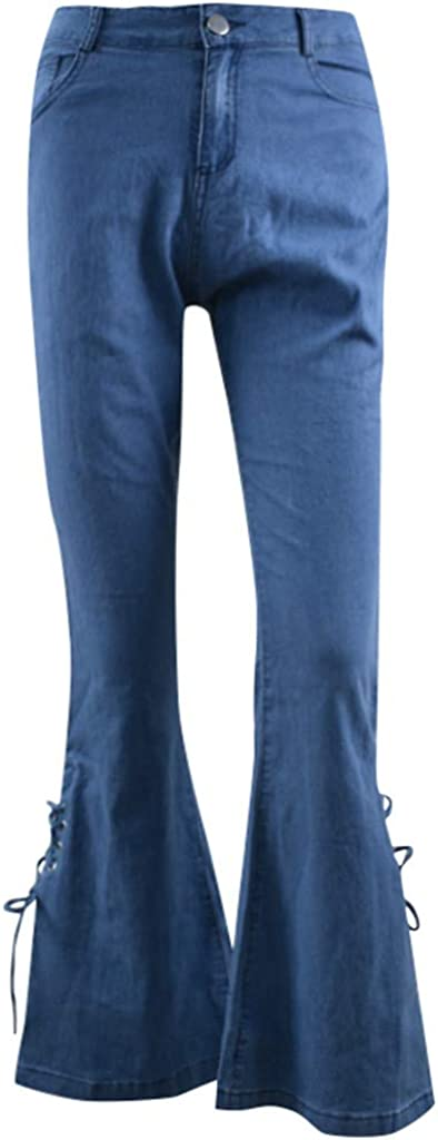 FUNEY Women's Classic Destoryed Flare Jeans Elastic Waist Bell Bottom Bowknot Denim Pants Trendy Fitted Trousers