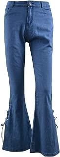 Women Summer Elastic Plus Loose Denim Bow Casual Boot Cut Pant Jeans