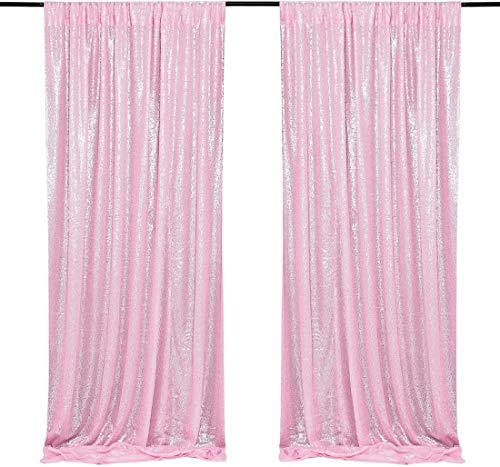 2Pcs Pink Glitter Sequin Curtains Backdrops Drapes 2FTx8FT Party Photography Background Pink Baby Shower Party Decorations