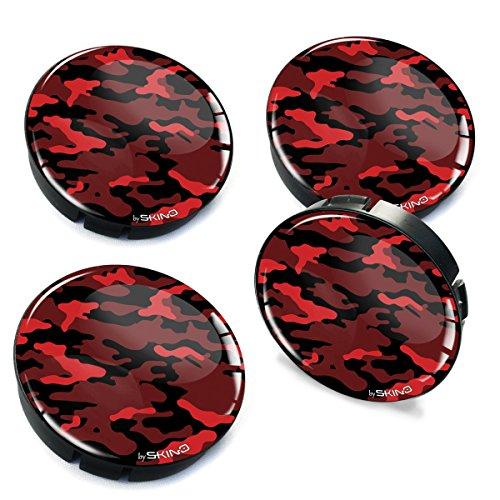 SkinoEu® 4 x 60mm Silikon Nabenkappen Kappen Camouflage Rot Felgendeckel Radkappen Radnabendeckel Nabendeckel Auto Tuning C 19