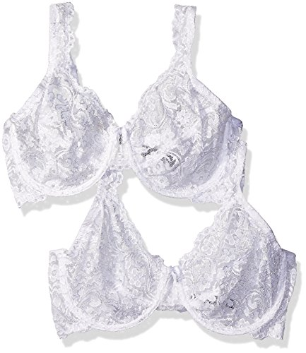 Smart & Sexy Women's Signature Lace Unlined Underwire Bra 2 Pack White 36C