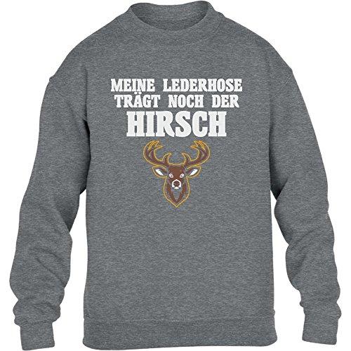 Meine Lederhose Trägt Noch Der Hirsch - Witziges Oktobe Kinder Pullover Sweatshirt L 134/146 Grau