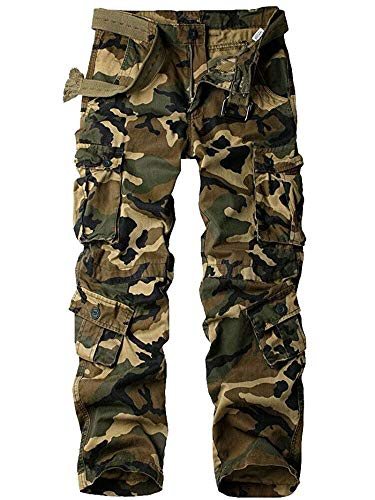 Women's Cotton Casual Military Army Cargo Combat Work Pants with 8 Pocket Camo N US 14