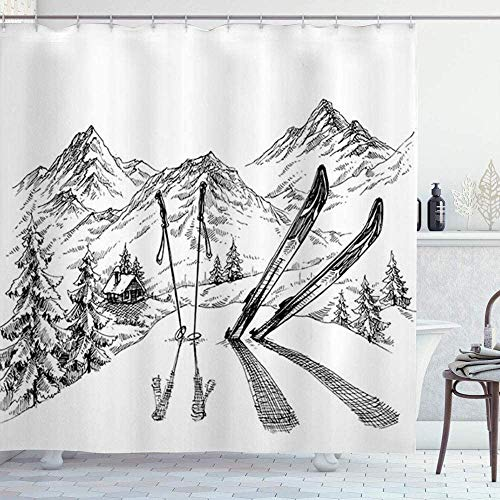 Duschvorhang, für den Winter, Ski, einfach, schneebedeckt, wasserdicht, Duschvorhang, Badezimmerdekoration, 72 x 72 cm
