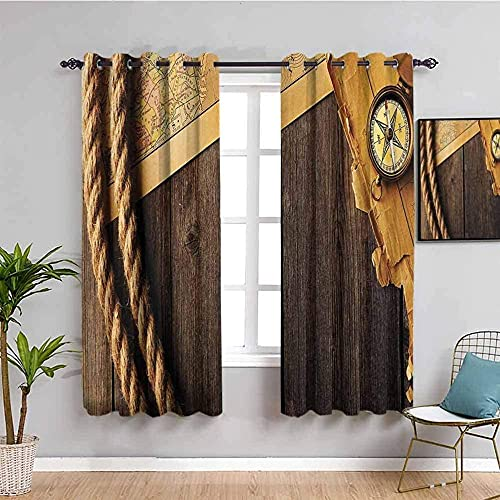 LucaSng Blackout Curtain Thermal Insulated - Yellow map compass rope - 72x84 inch for Bedroom Kitchen Living Room Boy Girl Window - 3D Digital Printing Eyelet Ring Curtain