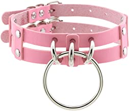 FM FM42 PU Simulated Leather Double Straps Large O Ring Neckband Collar Choker (17 Colors)