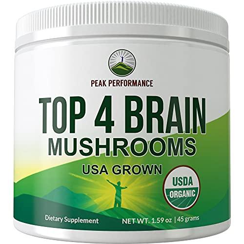 Top 4 USDA Organic Brain Mushroom Powder. USA Grown Mushrooms Vegan Nootropic Supplement. Blend of Top 4 Lions Mane, Reishi, Cordyceps, and Enoki Powders. Extract Complex for Focus, Memory Cognition
