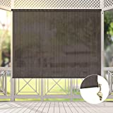 Exterior Cordless Roller Shades, Brown Light Filtering Windproof Fabric Outdoor Blinds, Premium UV...