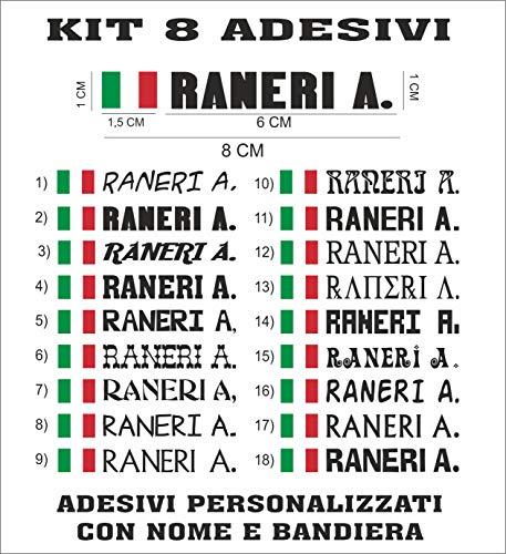 8 ADESIVI NOME + BANDIERA PERSONALIZZATO BICI MOTO CASCO AUTO SCUOLA CASA B01