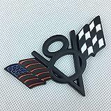 Csfssd V8 americanos bandera del metal calcomanías for automóviles aplicadas al cuerpo después del final del alquiler de coche modificado norma de etiquetado (Color : Black4)