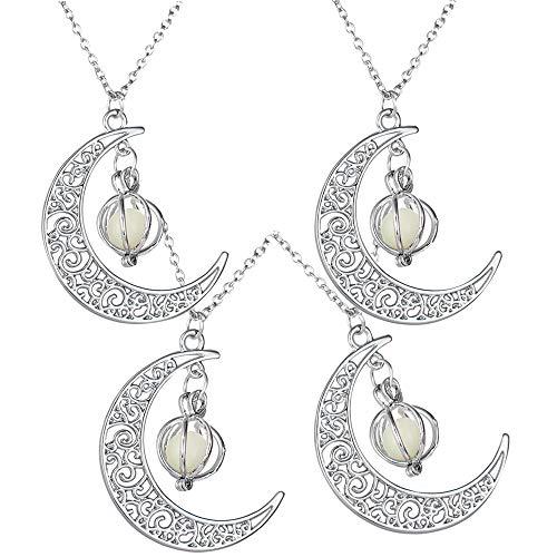 Leuchtender Anhänger Damen Kette Nachtleuchtende Glowing Halskette Halloween Mond Kürbis Anhänger Metalllegierung Leuchtende Perlen 4 Stück (blau grün gelb lila) Weihnachtsgeschenke für Mädchen