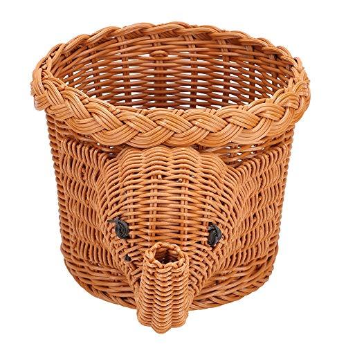HERCHR Cestas de Mimbre para Almacenamiento de Frutas de Elefante, pequeñas cestas Decorativas de Almacenamiento Tejidas a Mano para la Mesa de Comedor de Cocina, 11.8 x 7.9 x 6.3in(marrón)