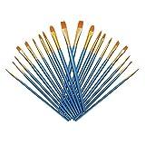 Pinceles (Conjunto), 20 Piezas de Cepillo de nylon para Pintura acrílica, Pintura al óleo, Pintura de acuarela, pintura a la aguada, Pintura de la cara (azur)