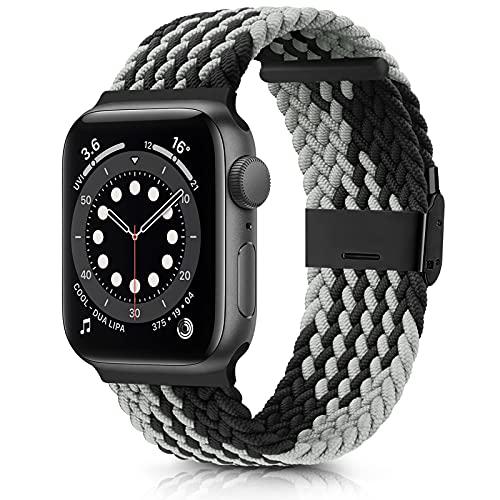 DEOU Correa Compatible con Apple Watch 38mm 42mm 40mm 44mm,Ajustable Trenzada Elástica con Hebilla Pulseras de Repuesto Deportiva Correa para iWatch Series SE 6 5 4 3 2 1(42mm/44mm,Gris Negro)