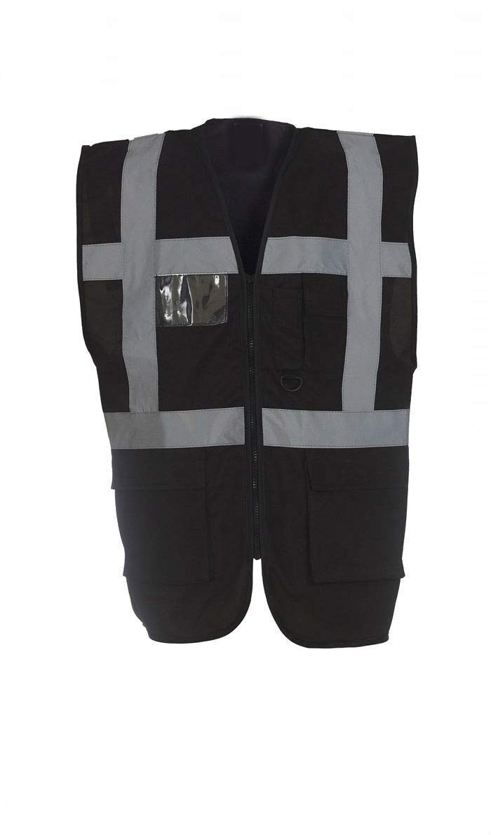 3XL, Black Vest With Zip Hi Vis Safety Vest Waistcoat with Phone /& ID Pockets Yellow Orange /& 2 Two Tone Vest