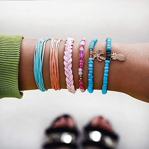 ZYJ Buntes Perlenweben Ananas-Baum-Armband-Set für Frauen Regenbogenseil Geschichtetes Armband-Set 6 Stück/Set,Colorful