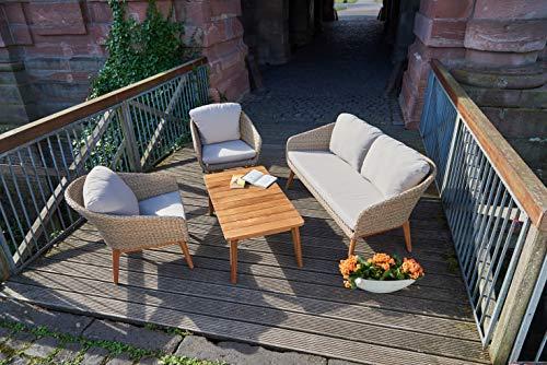Greemotion Murcia Loungemöbel Set 4-teilig für Garten und Terrasse mit Tisch aus Holz, braun, 1 x 1 x 1 cm - 3