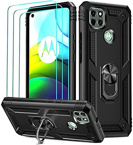 ivoler Funda para Motorola Moto G9 Power con [Cristal Vidrio Templado Protector de Pantalla *3], Anti-Choque Carcasa con Anillo iman Soporte, Hard Silicona TPU Caso - Negro