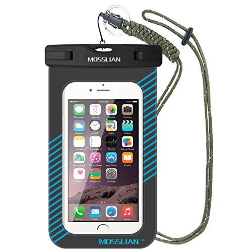 MOSSLIAN Funda Impermeable, Funda Impermeable Móvil Universal For iPhone X,8,S7,Plus,Samsung s9,Huawei P20,P10,P9 hasta 6 Pulgadas,Funda de Agua móvil certificada Ipx8(Azul)