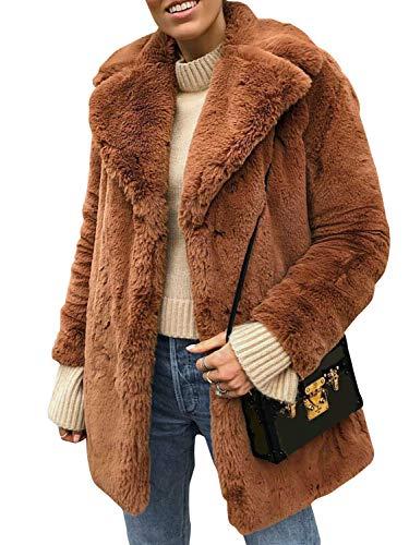 Terryfy Damen Pelz Mantel Elegant Lang Warm Fellmantel Winter Fur Coat Jacke Braun
