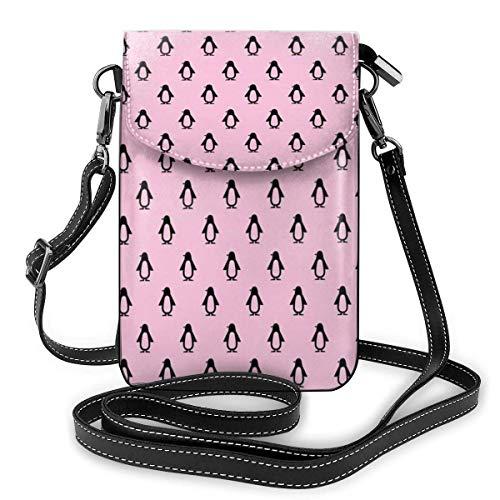 Crossbody Handy Geldbörse Süße Pinguin Frauen PU Leder Multicolor Handtasche mit verstellbarem Riemen