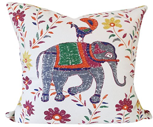 Thomas655 Elefanten-Stoff für dekorative Kissenbezüge, handgefertigt von Pillow Time Mädchen Überwurfkissen, solide Rückseite