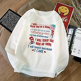 Dr. Seuss I Will Teach You A Room T- Shirt, Funny I Will Teach You Here or There Shirt Unisex Short Long Sleeve Ladies V-Neck Tank Men Women Tee Gifts