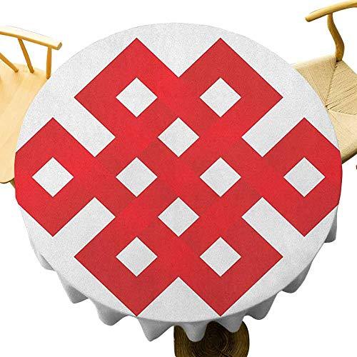 VICWOWONE - Mantel redondo para cafetería de 50 pulgadas, diseño de líneas geométricas, forma cuadrada, marco de borde con detalles en zigzag y fácil de cuidar, color rojo y blanco