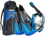 Phantom Aquatics Italian Design Snorkeling Full Face Snorkel Mask, Foldable 180 Degree Panoramic View Snorkeling Mask Fin Snorkel Set, BK-BL - 40