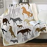 Manta De La Siesta Felpa Sofás Franela Cute Horse Women (tamaño de la Reina 80'x60') Buen sueño Warm Lightweight Fleece Cozy Blanket
