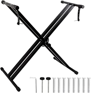 YANSHON Piano Keyboard Stand Double X Stand with Locking Straps Adjustable Electric Keyboard Stand Foldable Piano Stand Heavy Duty Detachable Music Universal Keyboard Rack (Black)