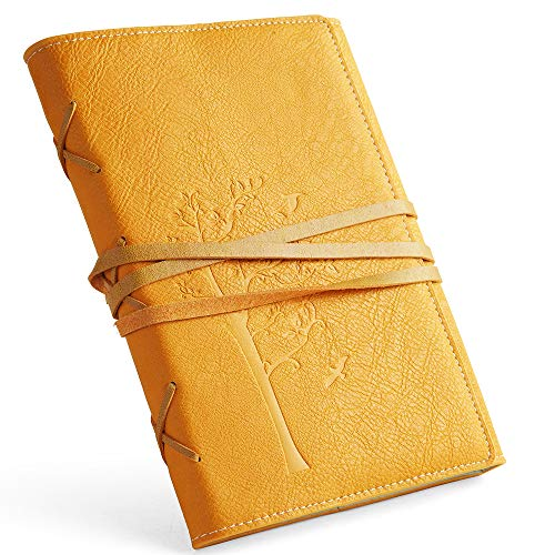 Faux Yellow Leather Journal, VALERY Personal Diary Vintage Traveler Refillable Sketchbook with Lined Paper to Write In, Fountain Pen Safe, Nice Gift for Boys, Gift(Slim A5-5.5''X8.1'',Yellow-Lined)