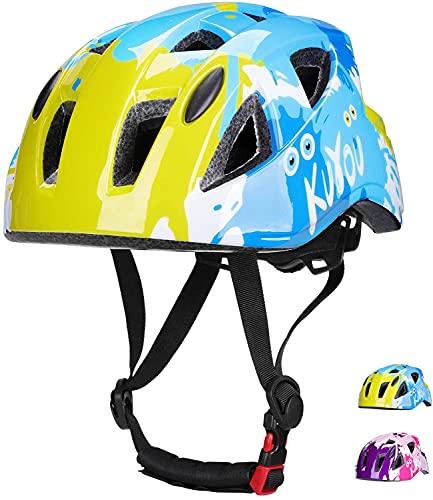 Kuyou Helmet for Kids Toddler, Lightweight Bike Helmet for Boys Girls Safety BMX Cycle Riding Skateboard Roller Scooter,Adjustable 52-58cm(Ages 3-12) Blue
