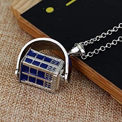 BAUNA Doctor Who Inspired Gift 3D Tardis Charms Pendant Necklace Police Box Charm Jewelry Tardis Gift