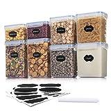 Aitsite Tarro de Almacenamiento Plasico Recipientes para Cereales Jarras de Almacenamiento con Tapa Hermética Sin BPA Juego de 8 800ml*2,1400ml*2,1600ml*2,2000ml*2