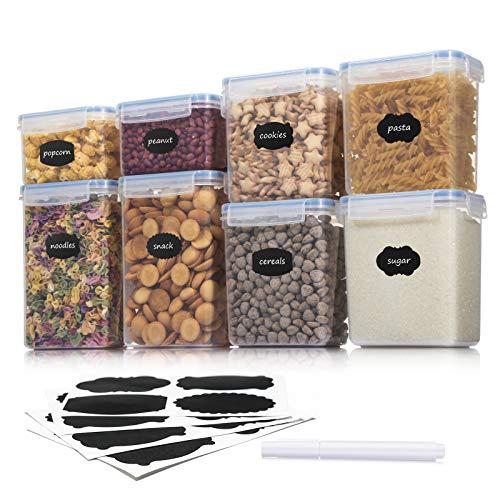 Aitsite Boîte de Conservation Alimentaire 8 Pièces, Boîte à Céréales Sans BPA, Récipient de Stockage Hermétique Pour Céréales, Farine etc (Bleu)