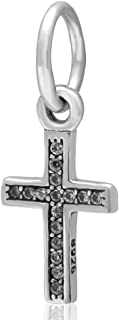 Holy Cross Charm with Clear Cz 925 Sterling Silver Cross CHARM,keep faith charm bible charm Beads fit for DIY Charms Bracelets