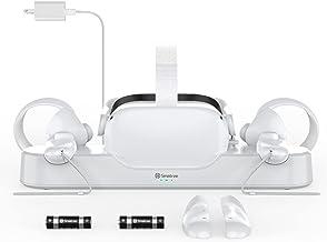 اسکله شارژ Smatree Oculus VR سازگار با Oculus Quest 2 ، کنترلر و نگهدارنده صفحه نمایش هدست ، کاملا مناسب برای بند نخبگان با باتری (با باتری های قابل شارژ 2 × 1800 میلی آمپر ساعت)