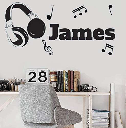 Pegatinas de vinilo para pared con nombre de auriculares, dormitorio infantil, decoración del hogar, decoración de habitación para niños, papel tapiz, 87 * 42Cm