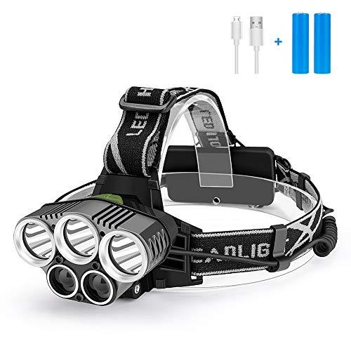 Stirnlampe LED Wiederaufladbar USB Kopflampe Stirnlampe Kinder,Superheller 2000 Lumen Stirnlampen wasserdichte 5 LED 6 Modi für Joggen Laufen Campen Angeln (2 x 18650 Lithium Akku enthalten)